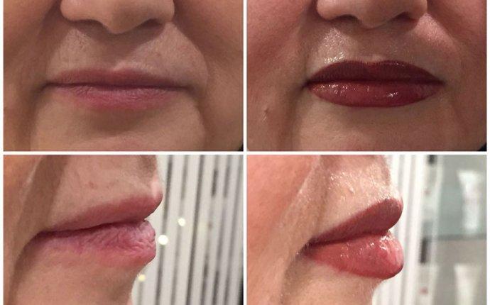 Татуаж губ, сделать естественный перманентный макияж губ в салоне